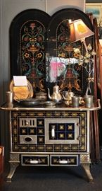 French Cobalt Blue and Gold Tiled Iron Stove.