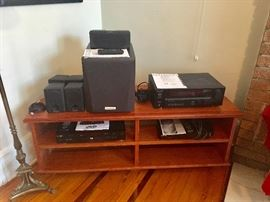 TV Stand: African Bubinga Wood - Electronics: Kenwood Audio Video Surround Receiver; Kenwood Speaker System; Apex DVD Player...