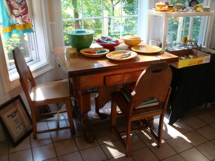 Art Deco Table and Fiestaware - Rare & Hard to Find Pieces
