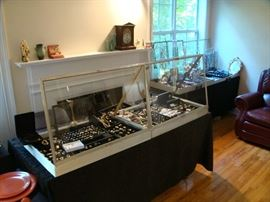 Entire Case on left is Gold 14K, 18K, & 10K                                                                                                                                                                 Entire Case on Right Is Sterling Jewelry
