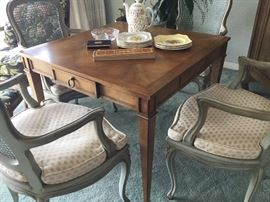 Baker Game Table,  price $125.00 or best offer set four Louis 16 chairs with custom upholstered cushions, $125.00 or best offer for set of four