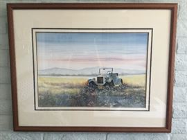 Original watercolor and ink of jalopy in field, large $65.00