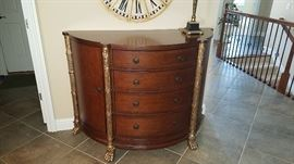 mixed wood commode with carved feet