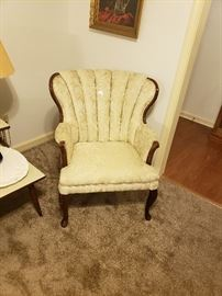 Queen Ann French Provincial sofa set (chair 1), original upholstery. Ivory faint pastoral print.