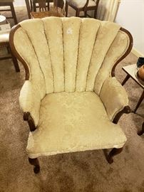 Queen Ann French Provincial sofa set (chair 2), original upholstery. Ivory faint pastoral print.