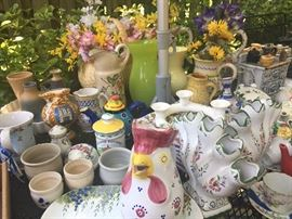 Tons of vintage ceramic teapots, vases, cups and saucers, etc....
