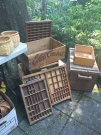 Nice Selection of wooden primitives and baskets.