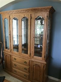 Handcrafted Solid Oak China Cabinet