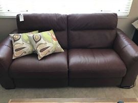 Natuzzi Leather Dual Electric Reclining Sofa