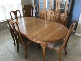Handmade Solid Oak Table with two leaves, 6 chairs
