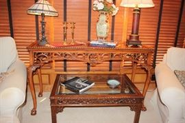 ARDLEY HALL Claw Foot Mahogany Chippendale Sofa Table/ Hickory  White  coffee table