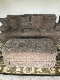 Bernhardt sofa, love seat and fabric ottoman. Like brand new almost never sat on!!