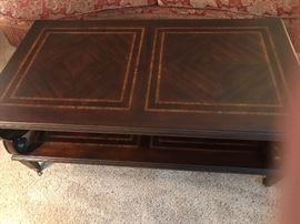Bernhardt 3-Piece Table set. Coffee table and two round end tables. Beautiful details on them