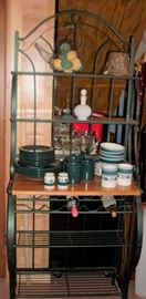 GREEN BAKERS RACK AND GREEN DISHES
