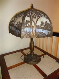 Another antique glass shade lamp