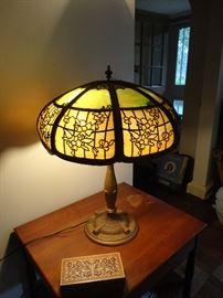 Beautiful slag glass antique lamp