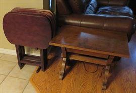 TV trays, vintage table