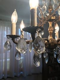 Glass crystals on chandelier