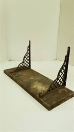 Very Old wall shelf with cool metal brackets