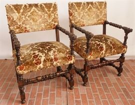 Pair Jacobean Style Armchairs