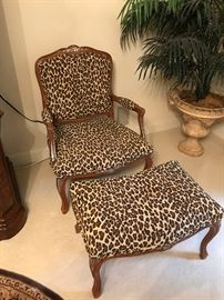 Animal Print Accent Chair with ottoman