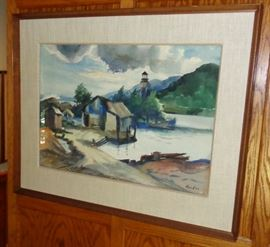 Birney Quick watercolor ( Grand Marais harbor, '52)