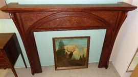 Handsome carved fireplace mantel