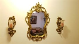 gold gilt sconces and mirror