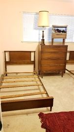 Mid Century Nightstands, twin beds, dresser