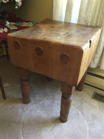 Antique butcher's block - extremely heavy!