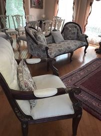 VICTORIAN STYLE SOFAS AND CHAIRS.