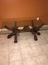 WOODEN BRANCH GLASS TOP COFFEE TABLE