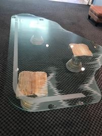 GLASS TOP TABLE-SOLD AS IS