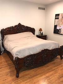 CUSTOM MADE HAND-CARVED ROSEWOOD KING SIZE BEDROOM SET