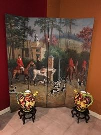 HAND-PAINTED HUNTING SCENE ROOM DEVIDER / SCREEN