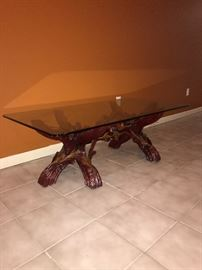 WOODEN BRANCH TABLE WITH GLASS TOP
