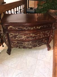 ORNATE WOODEN CABINET DRAWERS