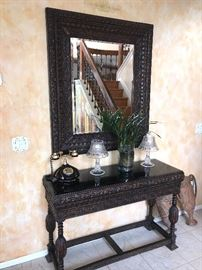 CUSTOM MADE WOODEN SIDECTABLE AND MIRROR