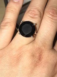 11.33 CARAT NATURAL BLACK DIAMOND RING