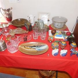 silver plate glassware and pottery