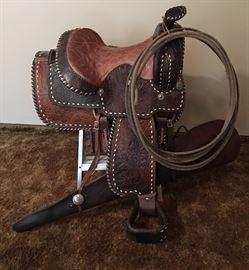Vintage Horse Saddle & Lasso