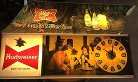 Miller Long Light Up & Budweiser Clock Light Up