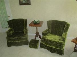 Pair of green chairs and lamp table