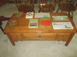 Coffee table and Gwen frostic items