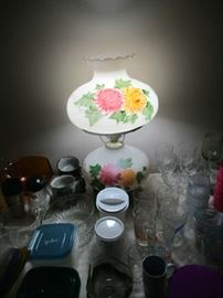 Glassware and Gone With the Wind lamp