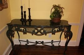 Console Table with Front Grill Work and Marble Top with Trio of Candlesticks and Basket Planter