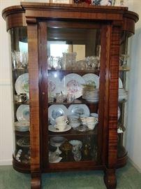 curved glass antique curio