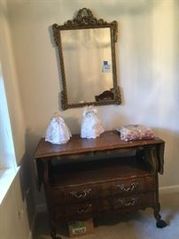 Antique mirror circa 1939. 22 x 33. Side service table, has two drawers and fold up extensions.  Angels, potpourri.