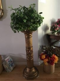 Plant stand and silk plant, silk flowers.