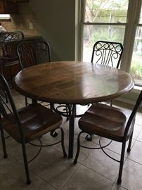 Table and 4 Chairs (two with arms/two without)
